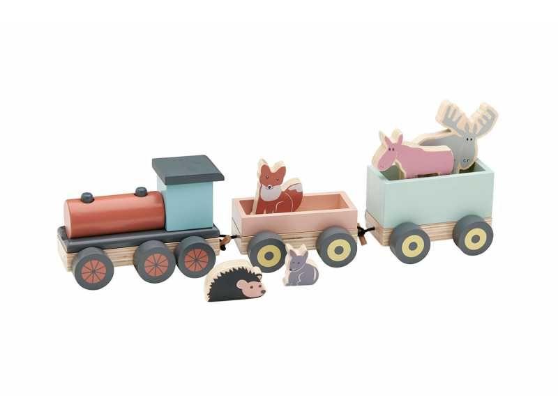 Vlak se zvířátky Edvin dřevěný, Kids Concept
