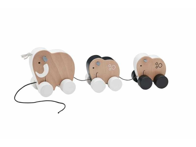 Tahací mamutí rodina dřevěná Neo, Kids Concept