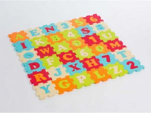 Puzzle pěnové 90x90cm písmena a čísla, Ludi
