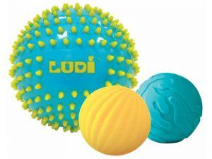 Senzorické míčky 3 ks modré, Ludi