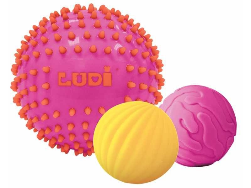 Senzorické míčky 3 ks růžové, Ludi