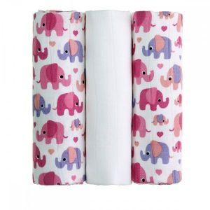 BIO Bambusové pleny Pink Elephants/růžoví sloni