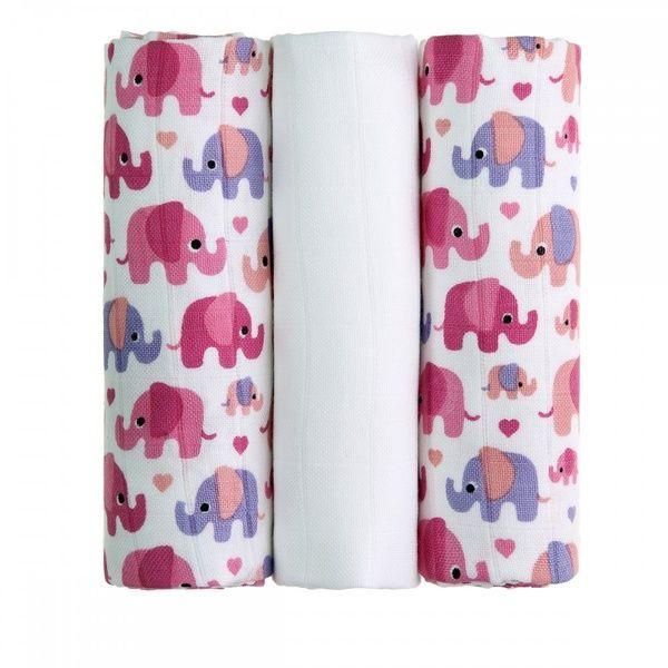 BIO Bambusové pleny Pink Elephants/růžoví sloni T-tomi