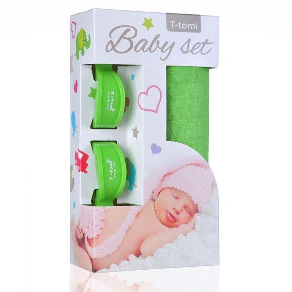 Baby set - bambusová osuška Green/zelená + kočárkový kolíček Green/zelená T-tomi