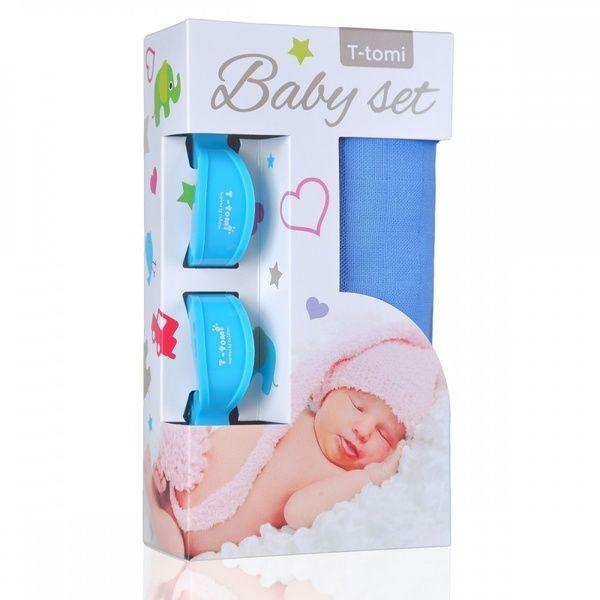 Baby set - bambusová osuška Blue/modrá + kočárkový kolíček Blue/modrá T-tomi