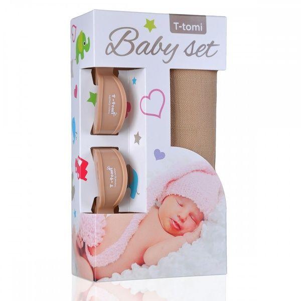 Baby set - bambusová osuška Beige/béžová + kočárkový kolíček Beige/béžová T-tomi