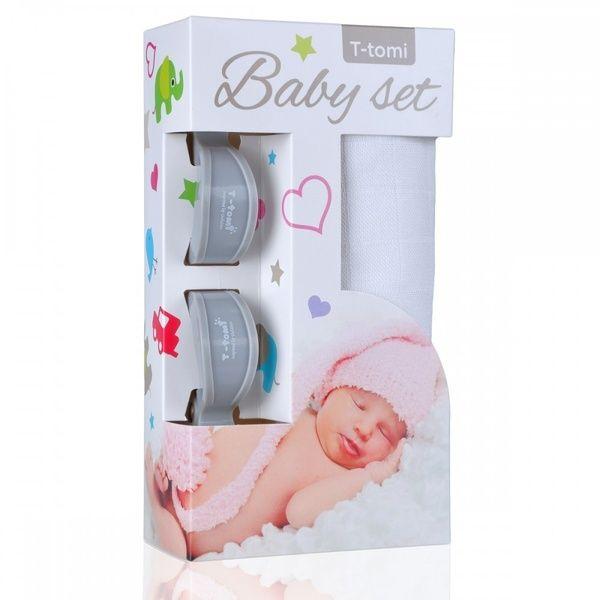 Baby set - bambusová osuška White/bílá + kočárkový kolíček Grey/šedá T-tomi