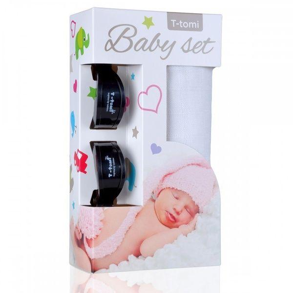 Baby set - bambusová osuška White/bílá + kočárkový kolíček Black/černá T-tomi
