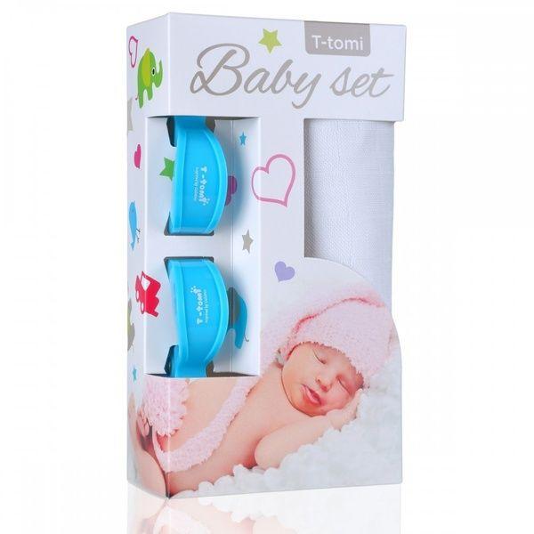 Baby set - bambusová osuška White/bílá + kočárkový kolíček Blue/modrá T-tomi