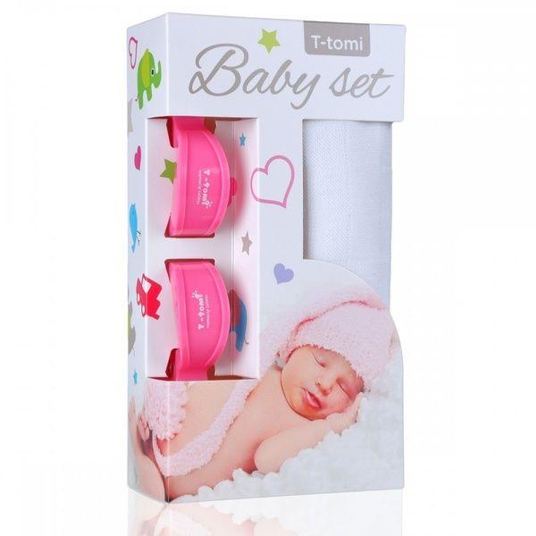 Baby set - bambusová osuška White/bílá + kočárkový kolíček Pink/růžová T-tomi