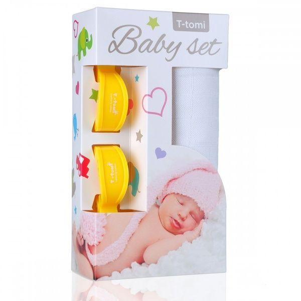 Baby set - bambusová osuška White/bílá + kočárkový kolíček Yellow/žlutá T-tomi