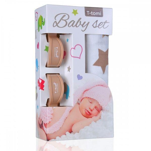Baby set - bambusová osuška Beige Stars/béžové hvězdičky + kočárkový kolíček Beige/béžová T-tomi
