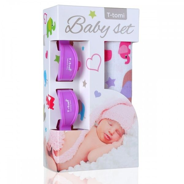 Baby set - bambusová osuška Pink Elephants/růžoví sloni + kočárkový kolíček Lilac/fialová T-tomi