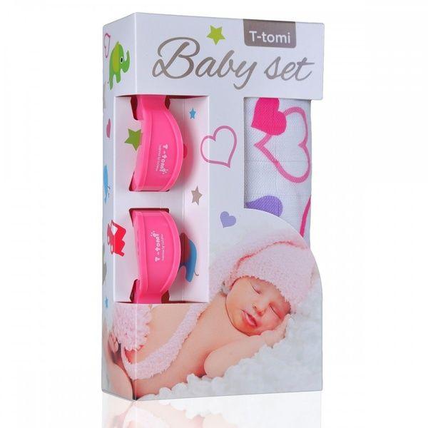 Baby set - bambusová osuška Hearts/srdíčka + kočárkový kolíček Pink/růžová T-tomi