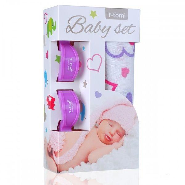 Baby set - bambusová osuška Hearts/srdíčka + kočárkový kolíček Lilac/fialová T-tomi