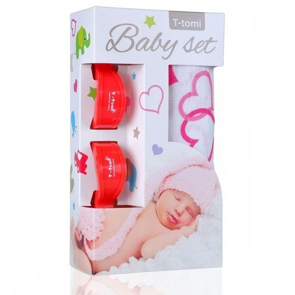 Baby set - bambusová osuška Hearts/srdíčka + kočárkový kolíček Red/červená T-tomi