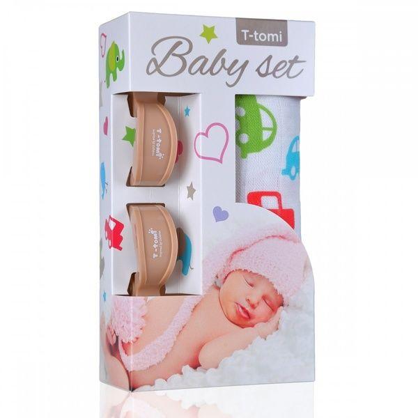 Baby set - bambusová osuška Cars/auta + kočárkový kolíček Beige/béžová T-tomi