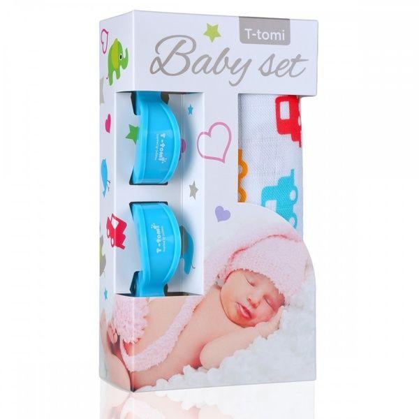 Baby set - bambusová osuška Cars/auta + kočárkový kolíček Blue/modrá T-tomi