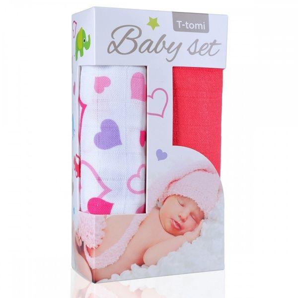 Baby set - bambusová osuška Hearts/srdíčka + bambusová osuška Pink/růžová T-tomi