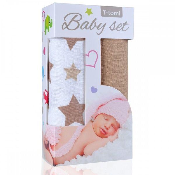 Baby set - bambusová osuška Beige Stars/béžové hvězdičky + bambusová osuška Beige/béžová T-tomi