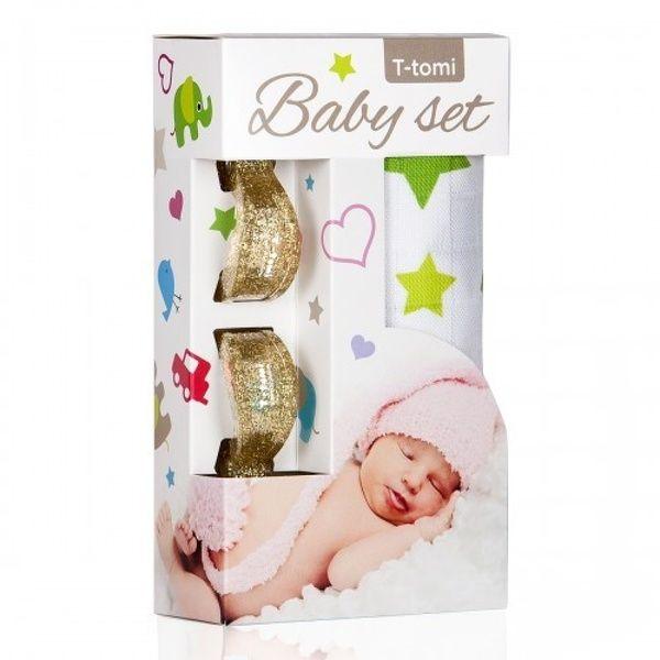 Baby set - bambusová osuška Green Stars/zelené hvězdičky + kočárkový kolíček Gold/zlatá T-tomi
