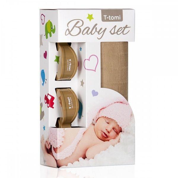 Baby set - bambusová osuška Beige/béžová + kočárkový kolíček Bronze/bronzová T-tomi