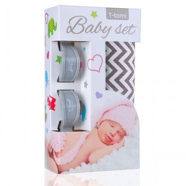 Baby set - bambusová osuška Grey Roofs/šedé stříšky + kočárkový kolíček Grey/šedá T-tomi