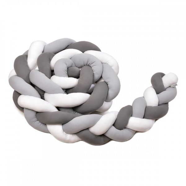 Pletený mantinel 180cm, white/grey/anthracite, T-tomi