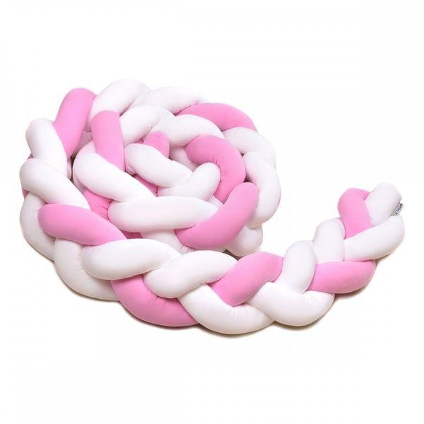 Pletený mantinel 360cm, white/pink, T-tomi