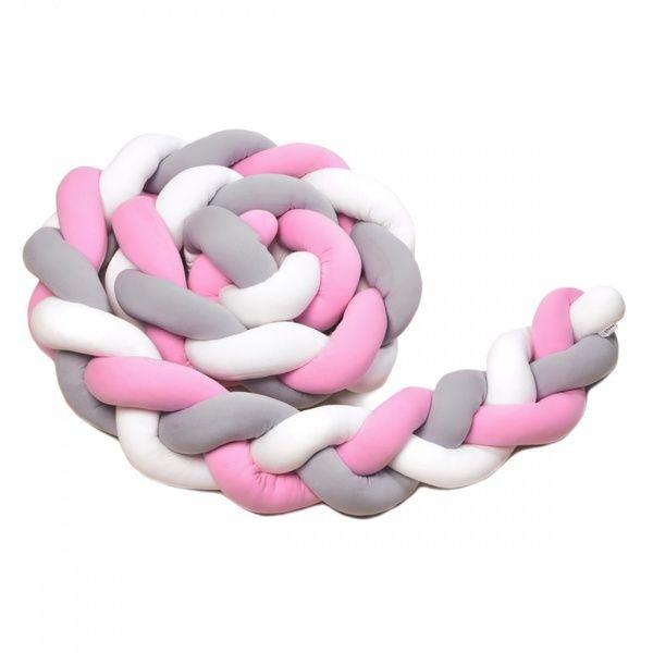 Pletený mantinel 360cm, white/grey/pink, T-tomi