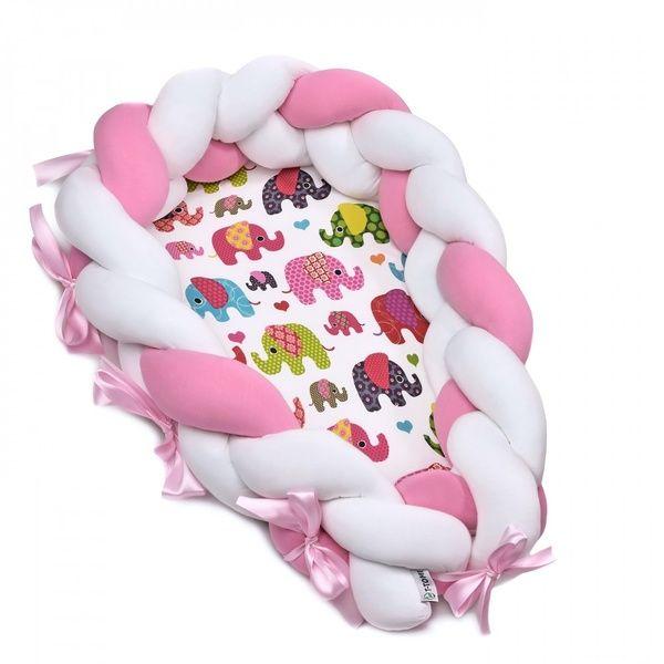 Pletené hnízdečko 2v1, Pink Elephant T-tomi